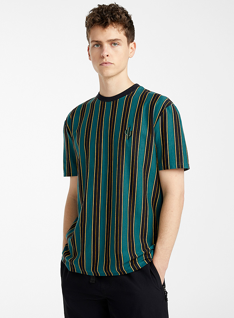 Djab Green Organic cotton striped patch T-shirt for men