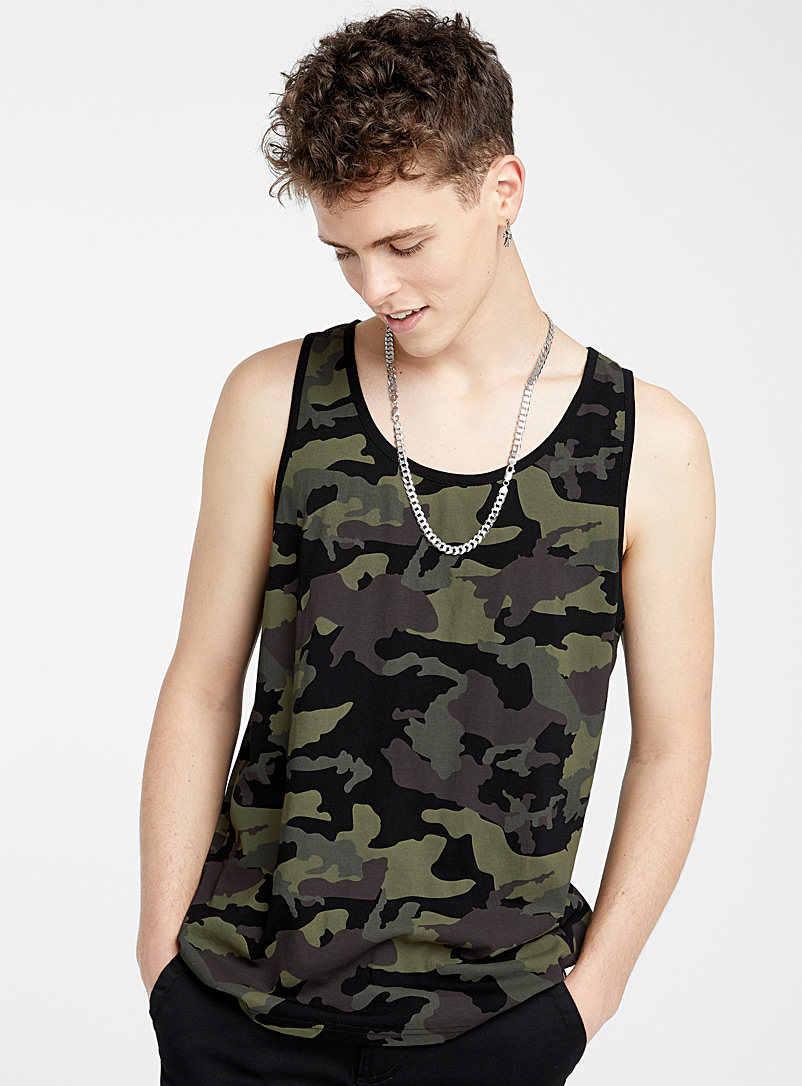Djab Mossy Green Printed organic cotton tank for men