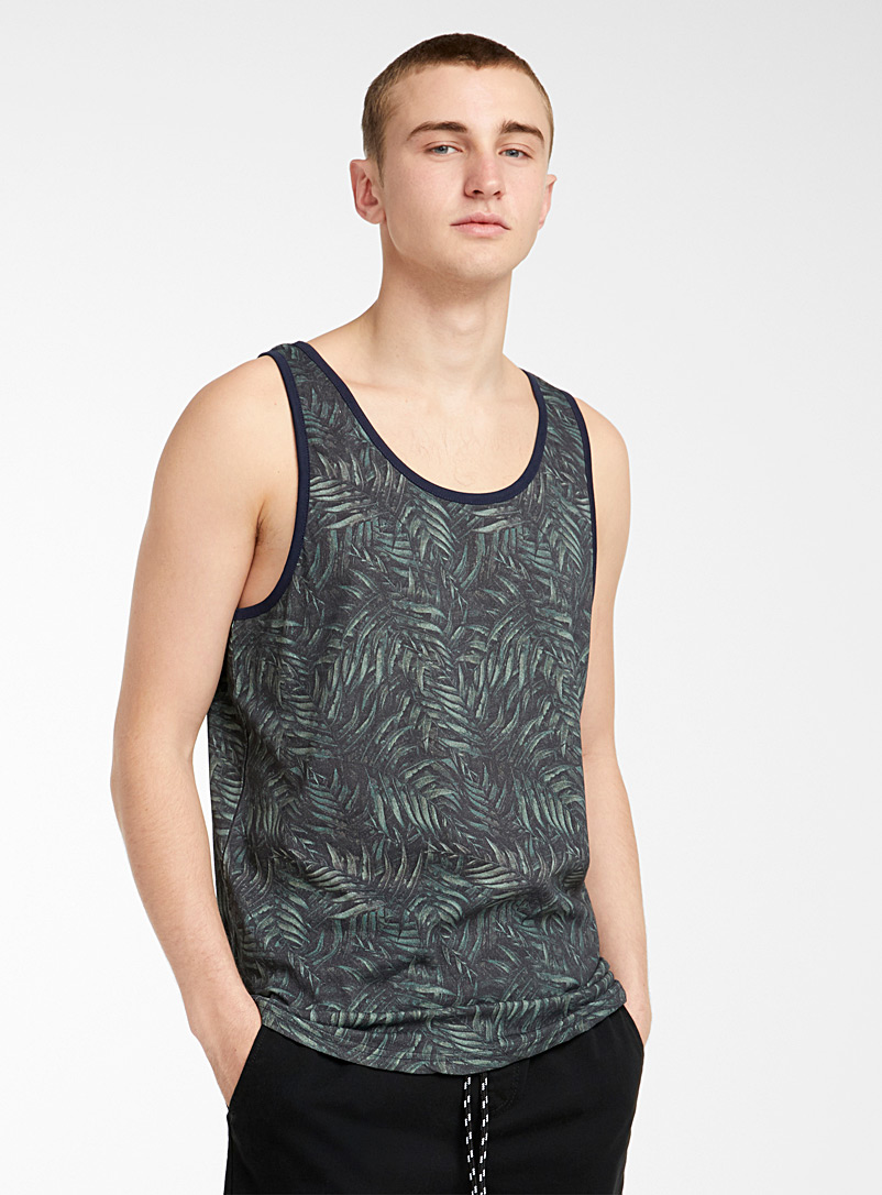 Djab Lime Green Printed organic cotton tank for men