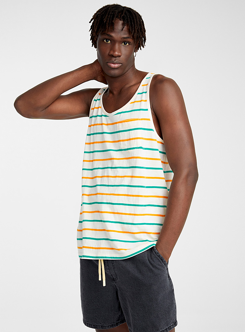 Djab Cream Beige Organic cotton striped tank for men