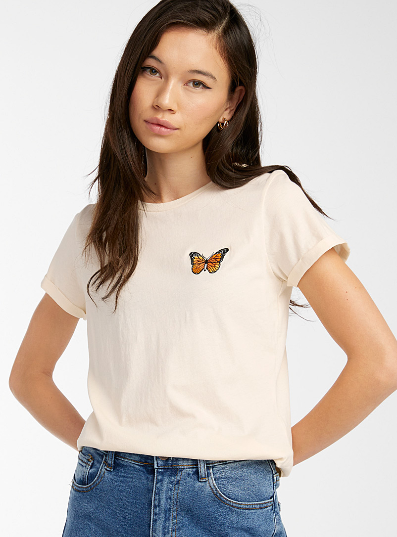 Twik Ivory White Embroidered organic cotton tee for women
