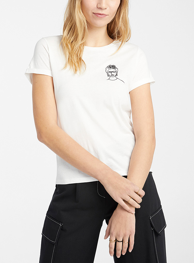 Twik Oxford Embroidered organic cotton tee for women