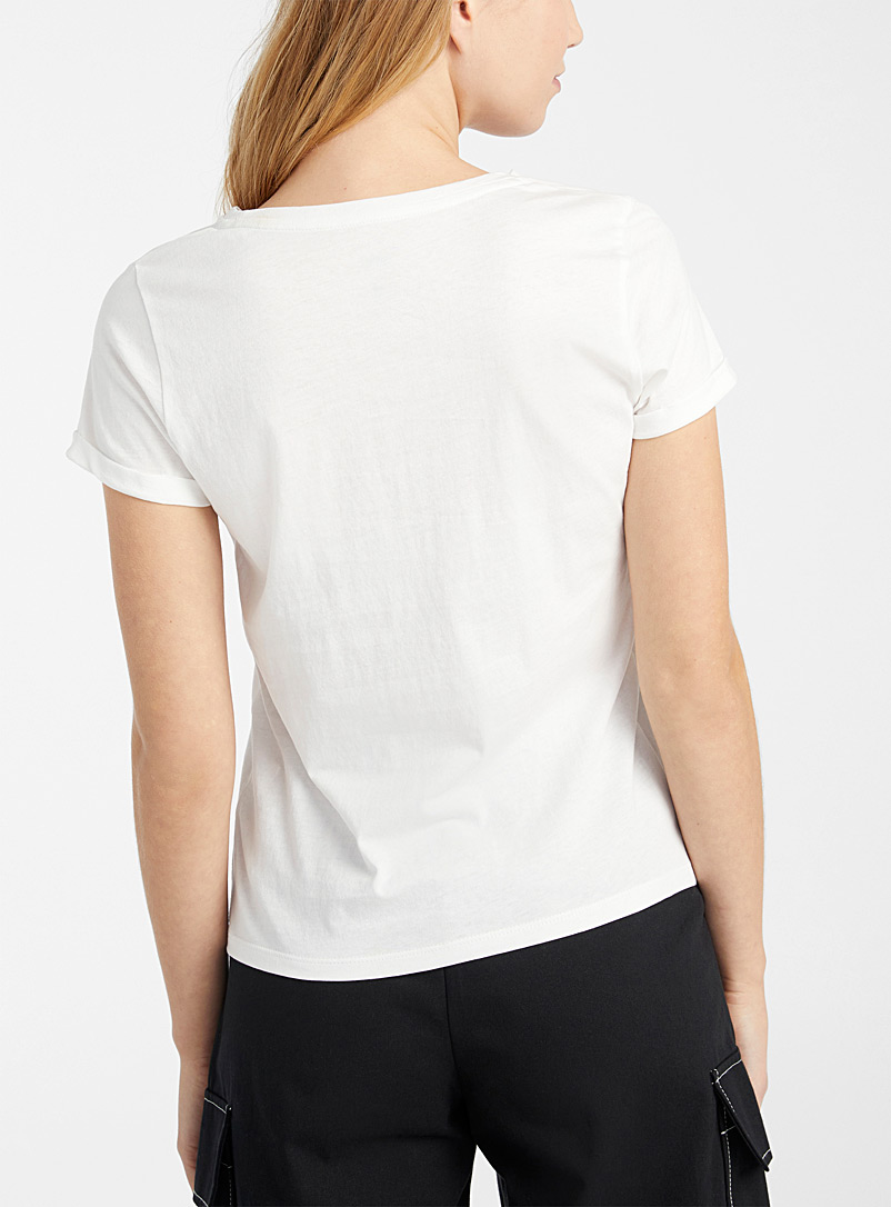 Twik Cherry Red Embroidered organic cotton tee for women