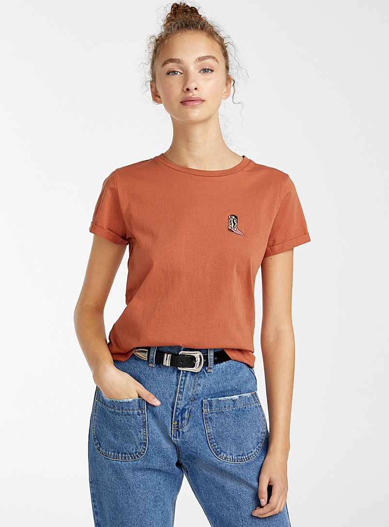 Twik Brown Embroidered organic cotton tee for women