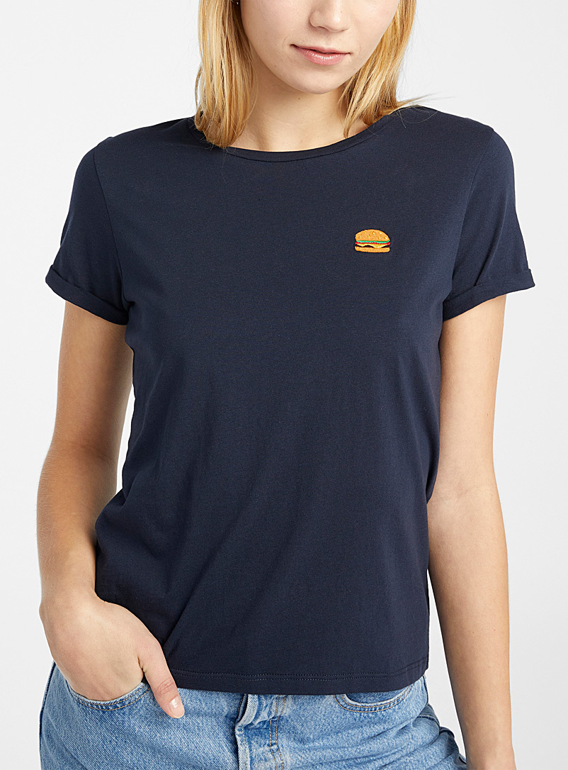 Twik Blue Embroidered organic cotton tee for women