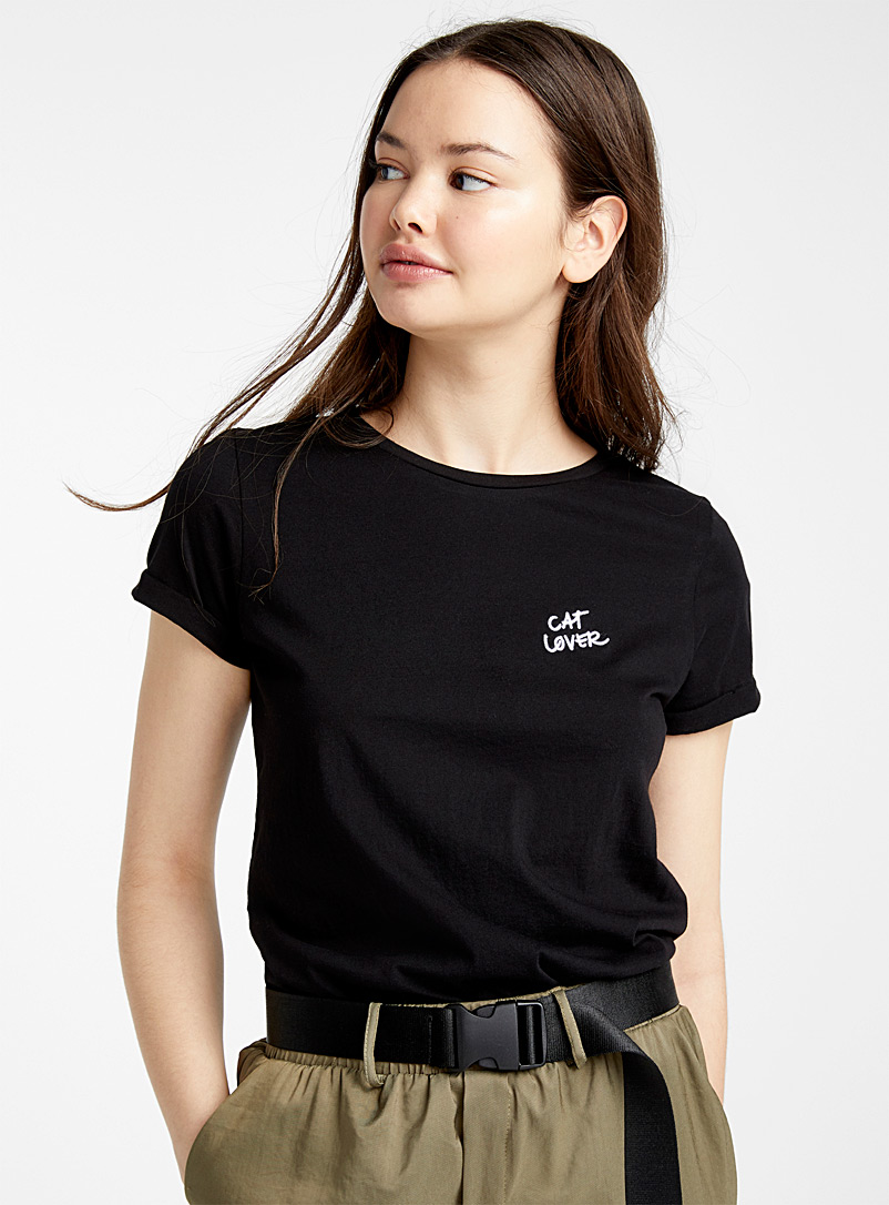 Twik Patterned Black Embroidered organic cotton tee for women