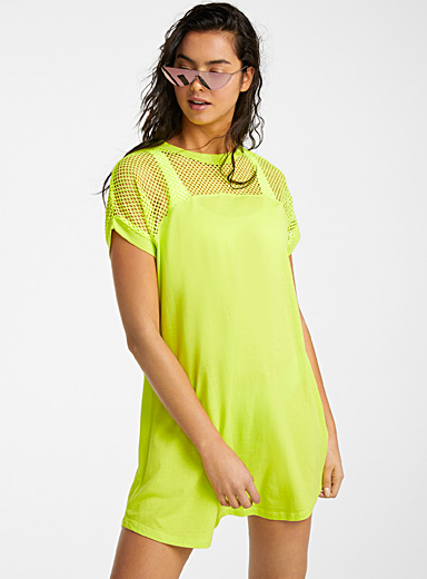 Simons Lime Green Mesh block dress for women