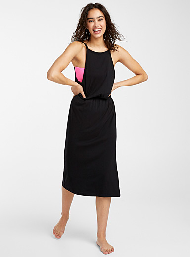 Simons Black Long high-neck dress for women