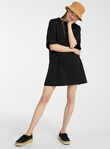 Twik Black Basic loose organic cotton T-shirt dress for women