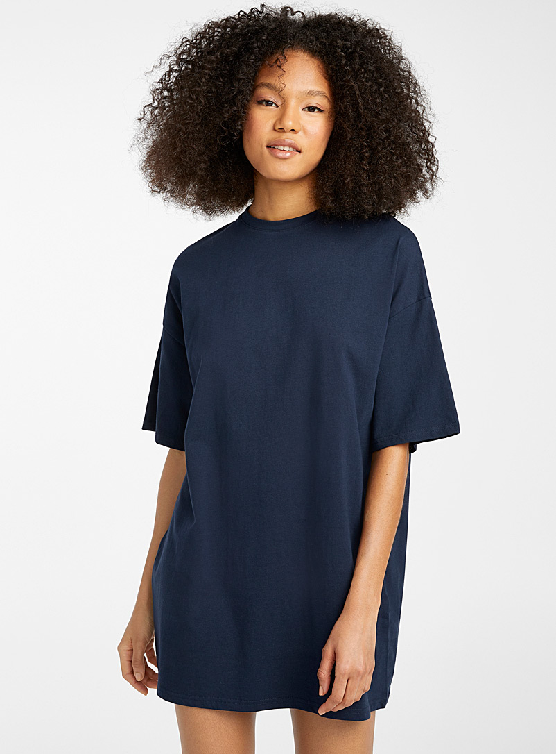 Twik Marine Blue Basic loose organic cotton T-shirt dress for women