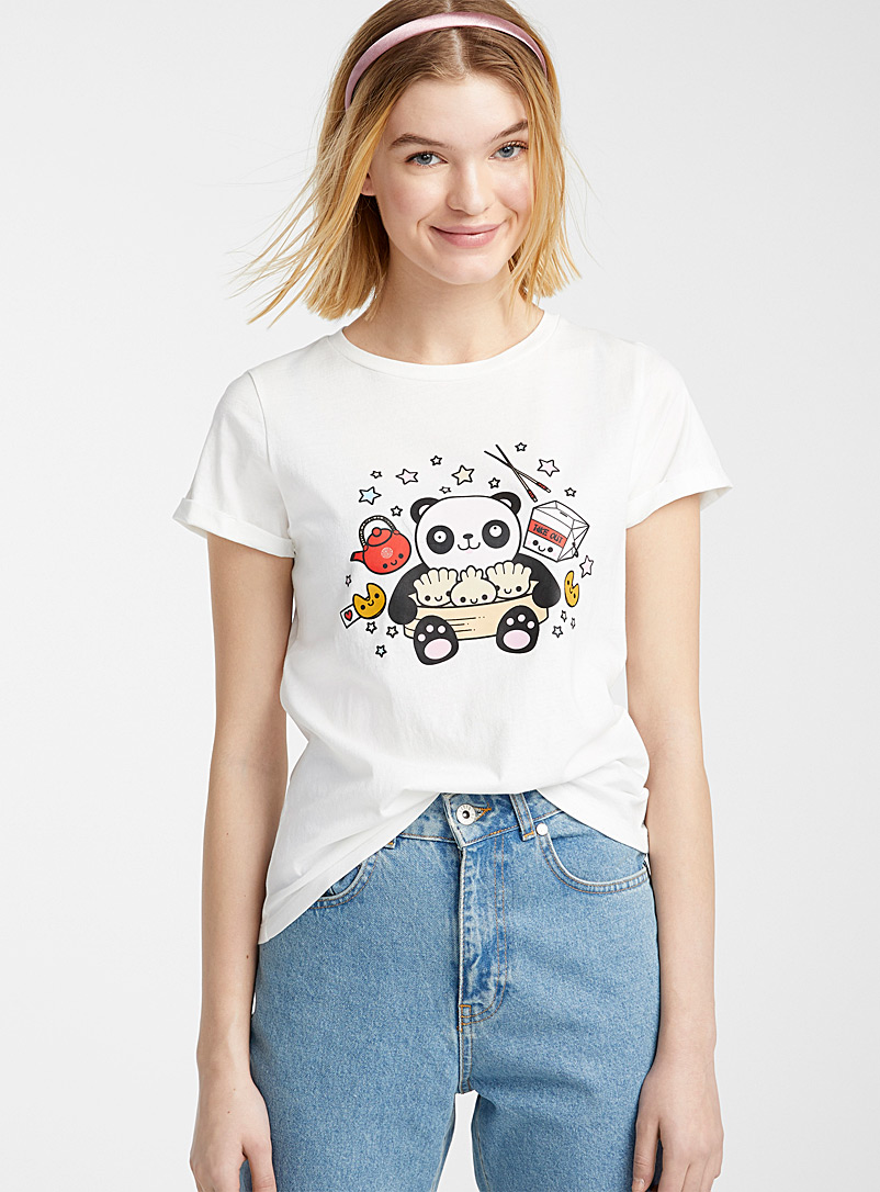 Twik Patterned Black Organic cotton graphic tee for women