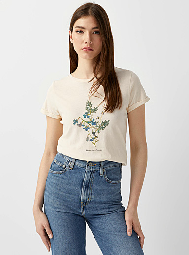 Twik Ivory White Organic cotton graphic tee for women