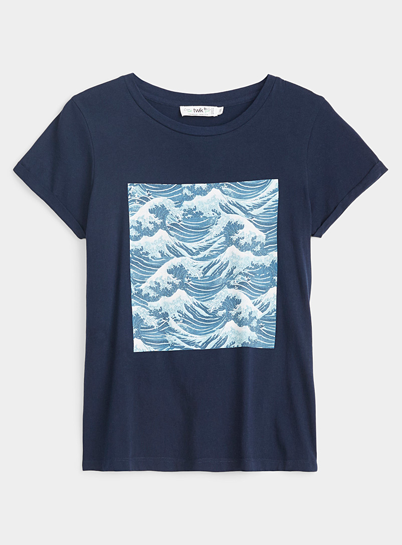 Twik Blue Organic cotton graphic tee for women