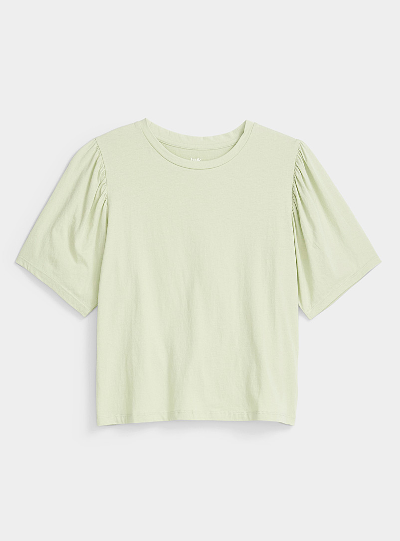 Twik Lime Green Organic cotton puff-sleeve tee for women