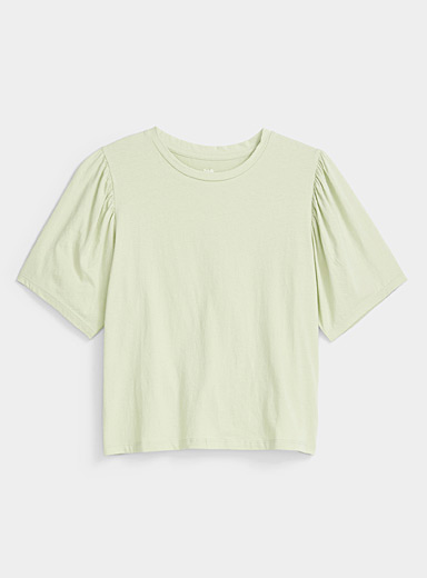 Twik Lime Green Organic cotton puff sleeve tee for women