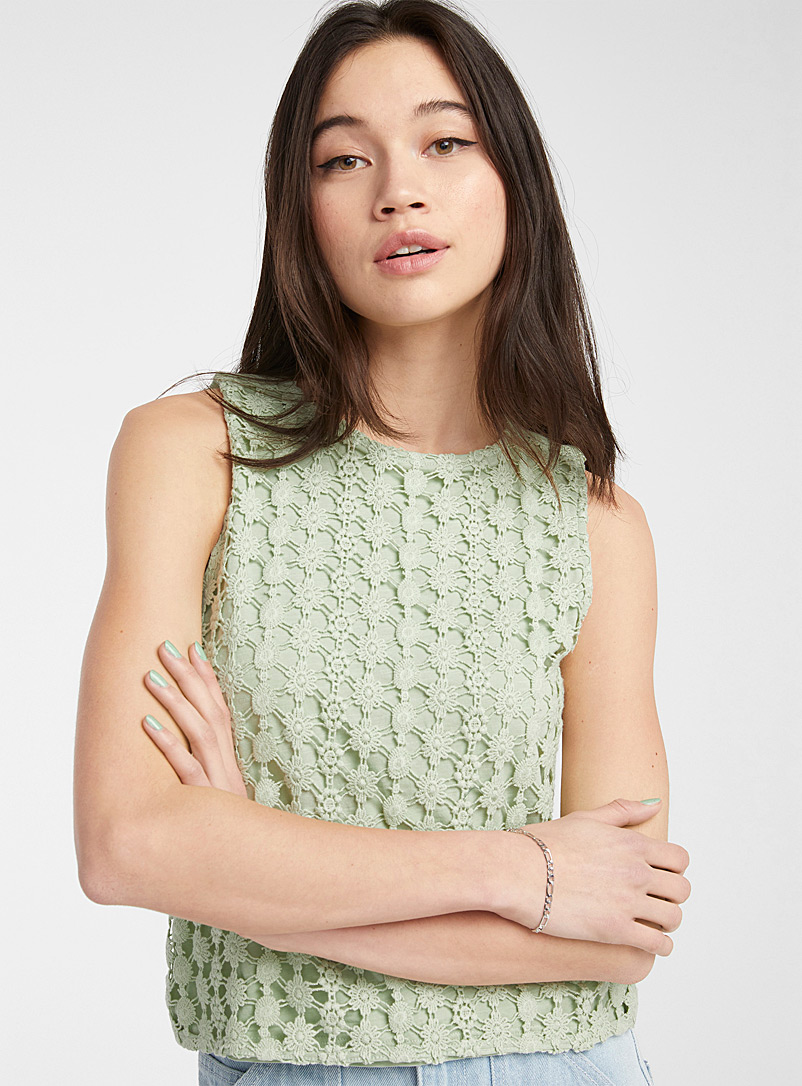 Twik Lime Green Floral crochet cami for women