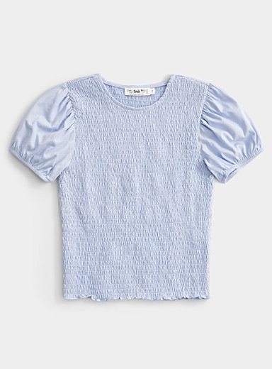 Twik Baby Blue Puff sleeve smocked tee for women