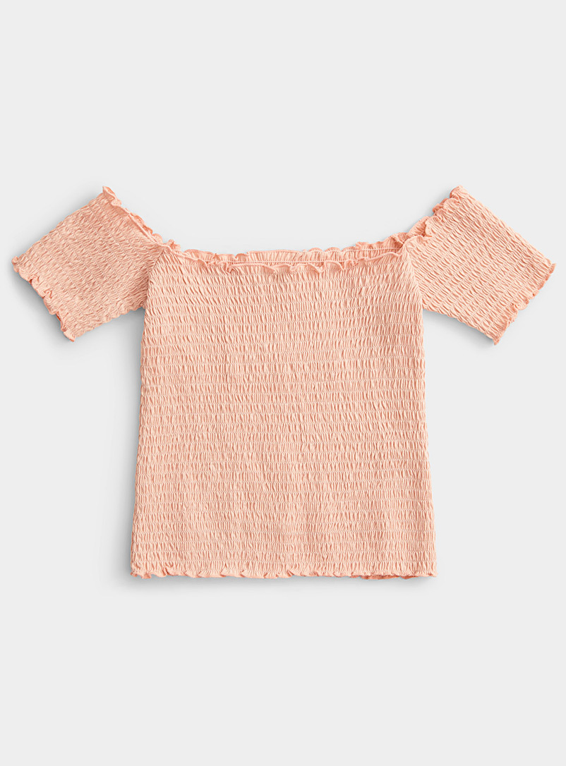 Twik Pink Organic cotton smocked tee for women