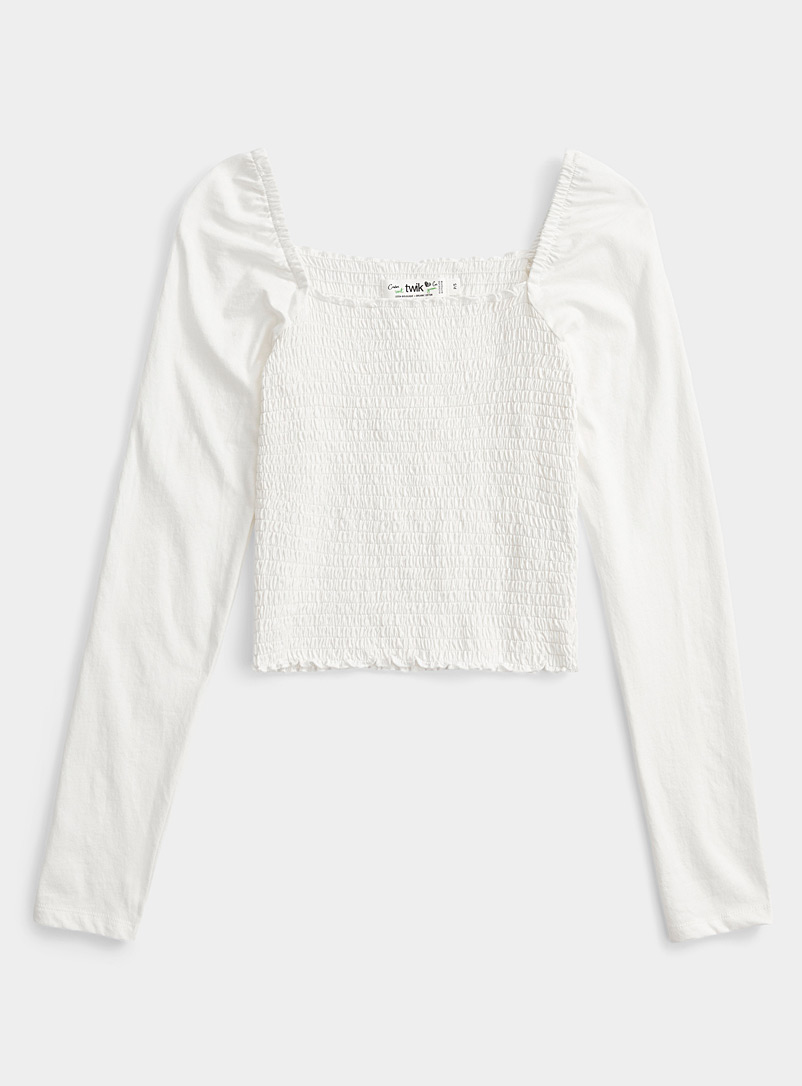 Twik White Smocked square-neck tee for women