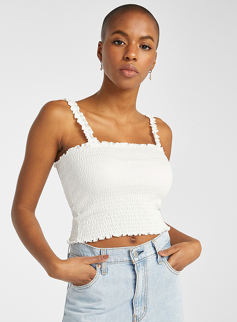 Twik White Ruffled and smocked cami for women