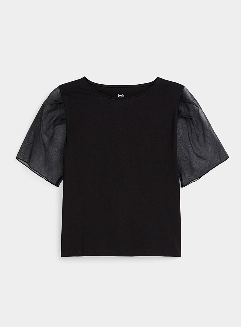 Twik Black Organic cotton organza-sleeve tee for women