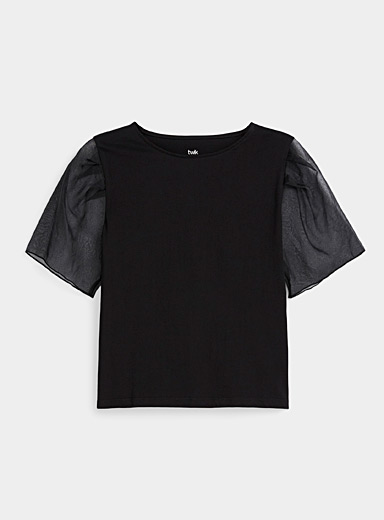 Organic cotton organza-sleeve tee