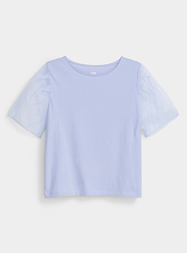 Twik Baby Blue Organic cotton organza-sleeve tee for women