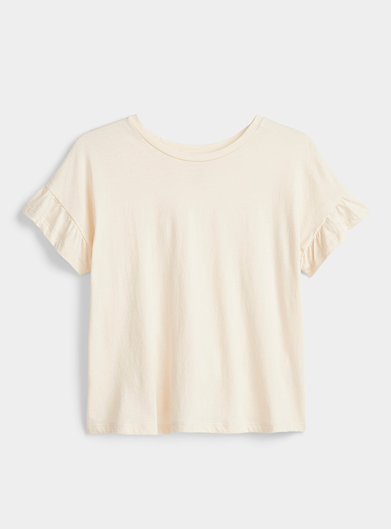 Organic cotton ruffle-sleeve tee