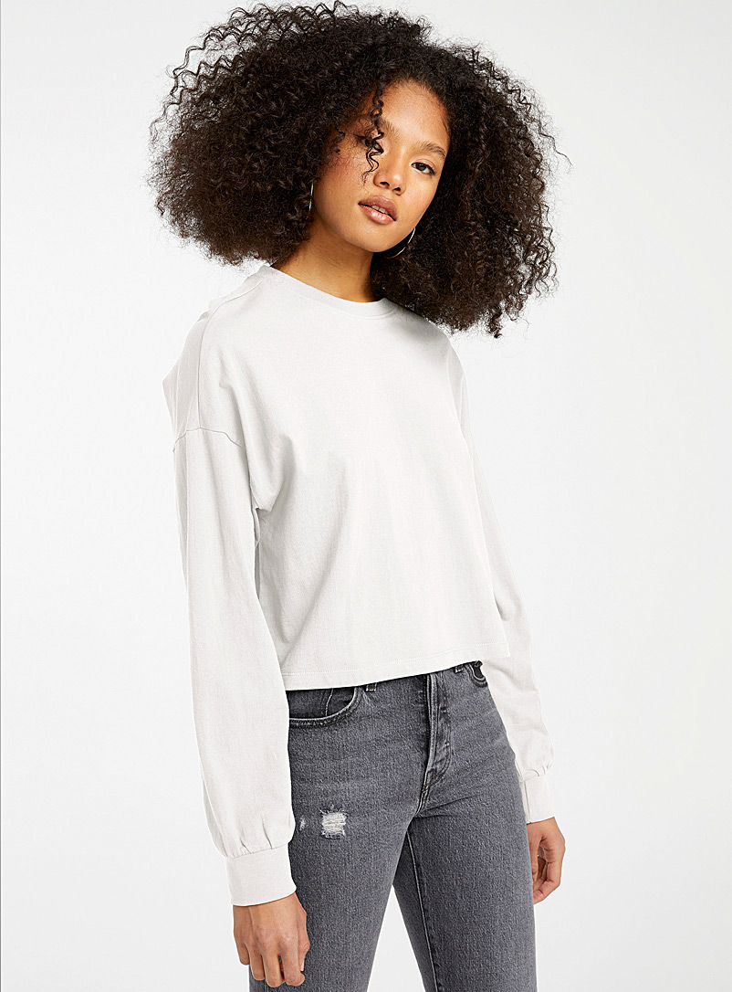 Twik White Recycled cotton cropped long-sleeve tee for women