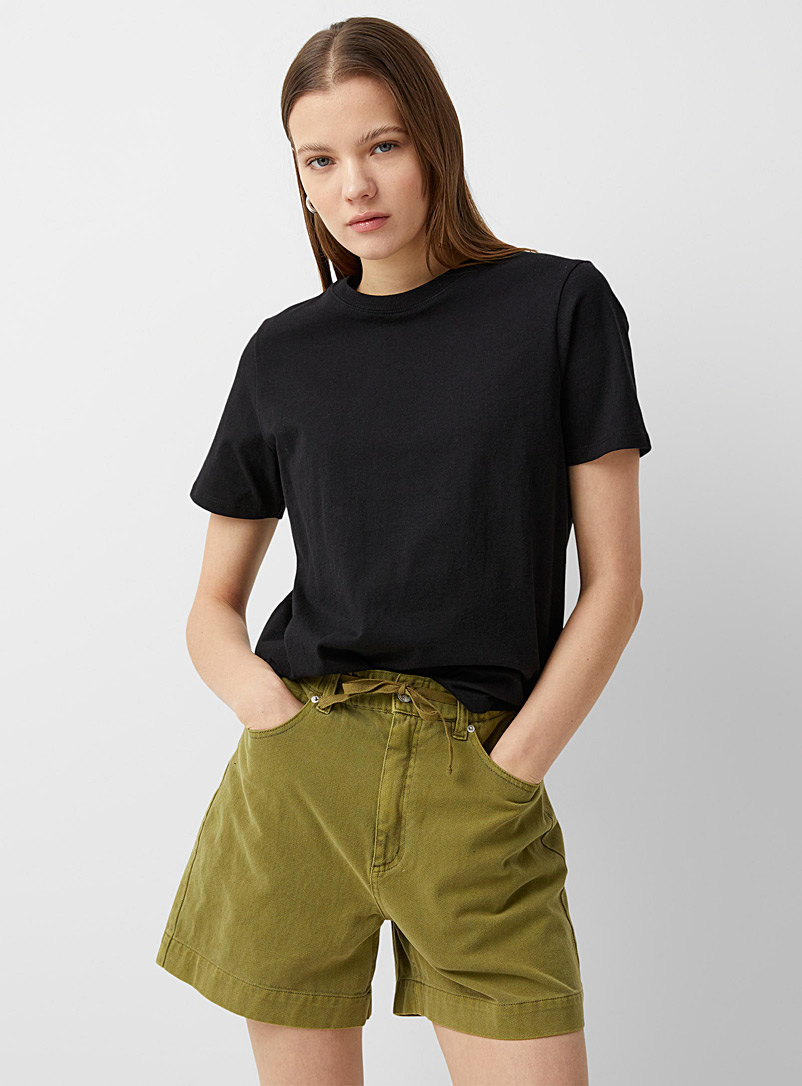 Twik Black Loose recycled cotton tee for women