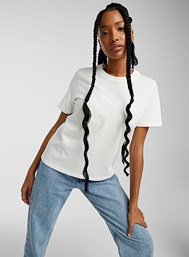 Twik White Loose recycled cotton tee for women