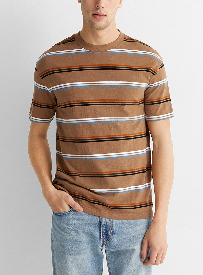 Le 31 Light Brown Graphic-stripe T-shirt for men