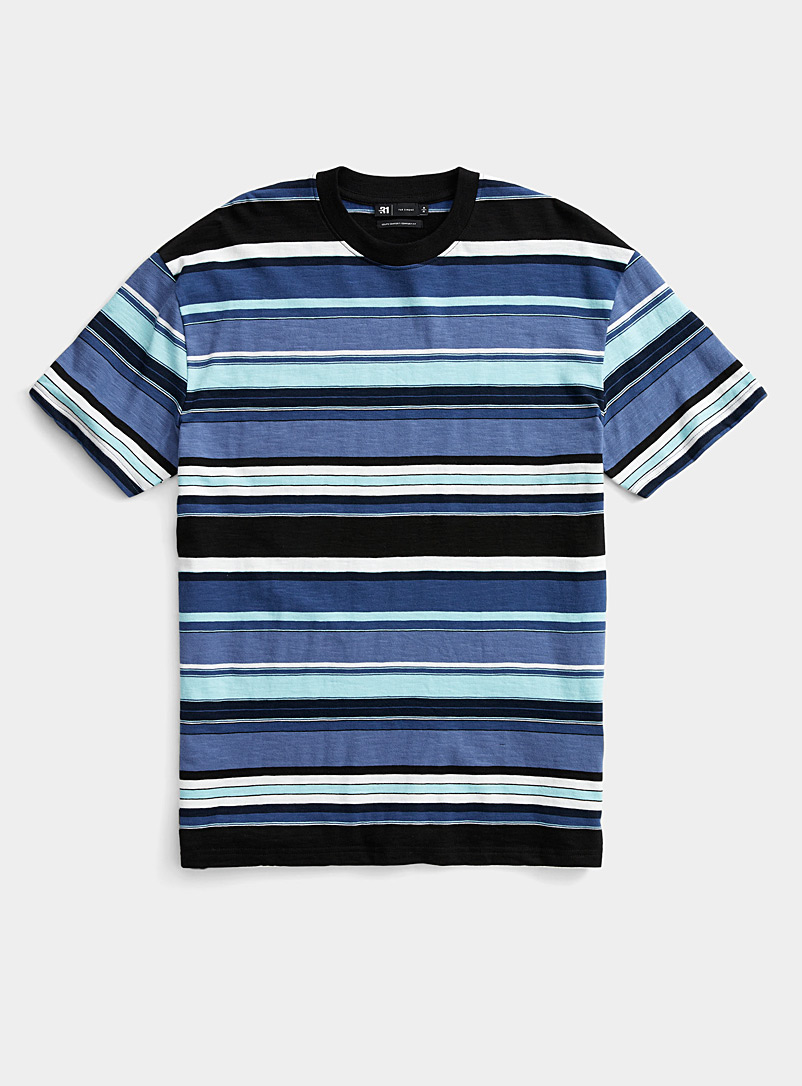 Le 31 Blue Graphic-stripe T-shirt for men