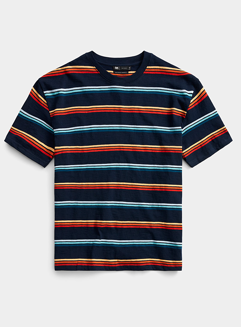 Le 31 Marine Blue Graphic-stripe T-shirt for men