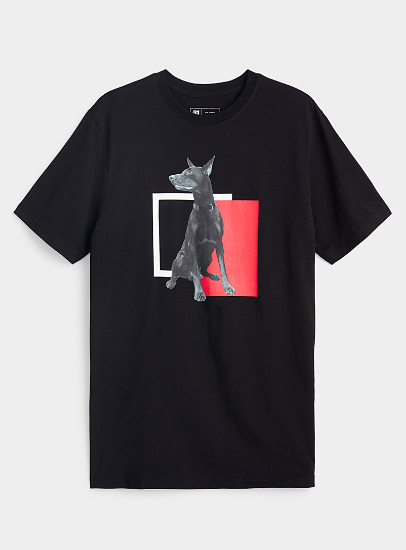 Le 31 Black Graphic canine T-shirt for men