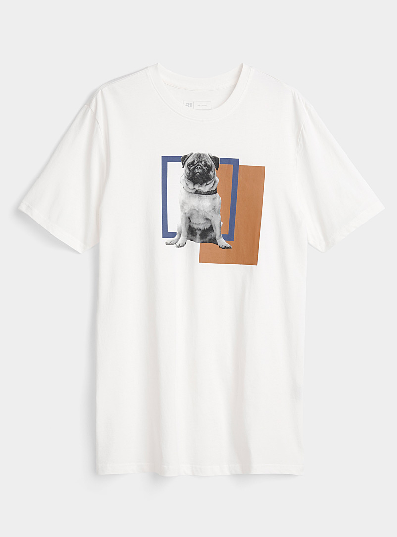 Le 31 Cream Beige Graphic canine T-shirt for men