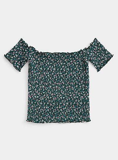 Twik Patterned Green Off-the-shoulder smocked tee for women