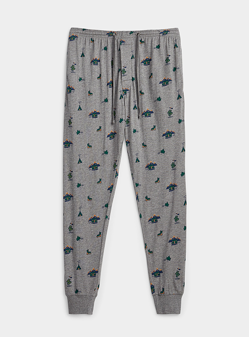 Le 31 Patterned Grey Eco-friendly alpine lounge joggers for men