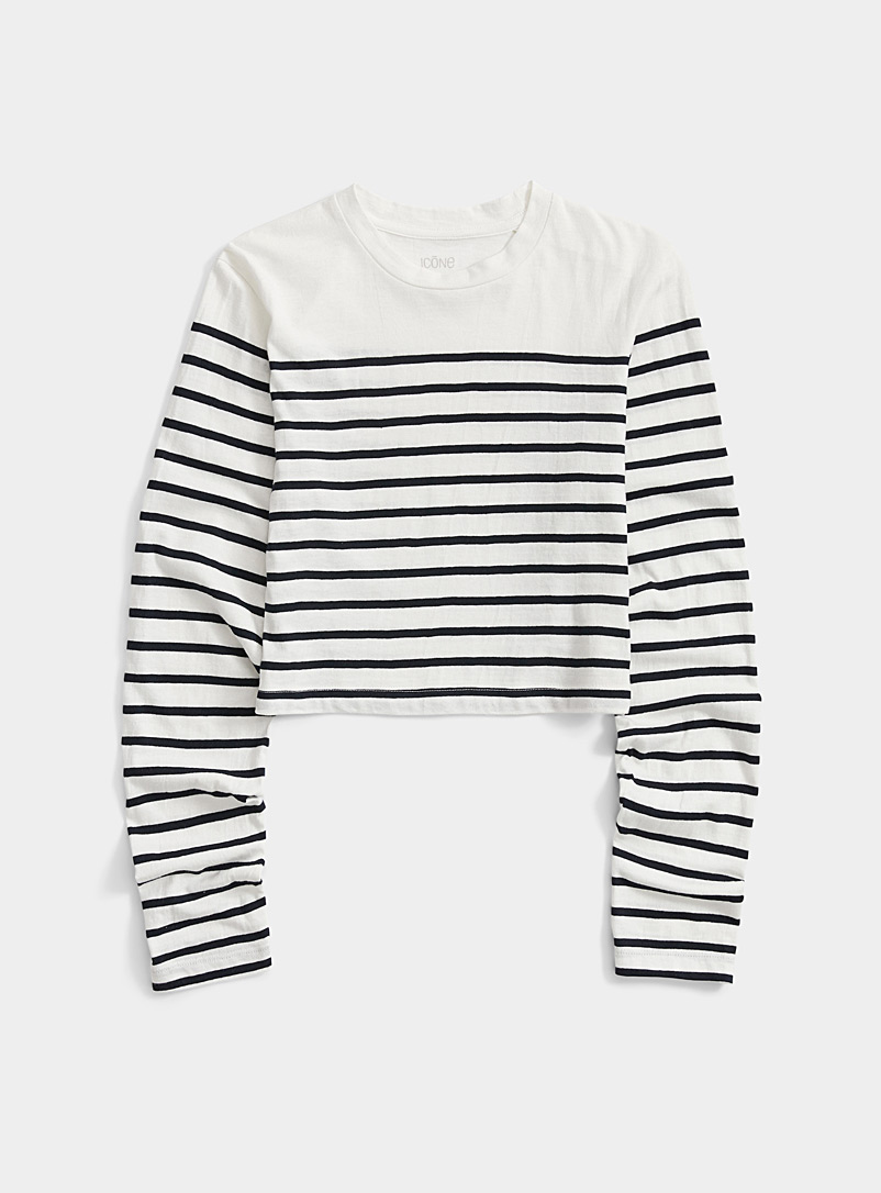 Icône Patterned Blue Sailor stripe cropped T-shirt for women