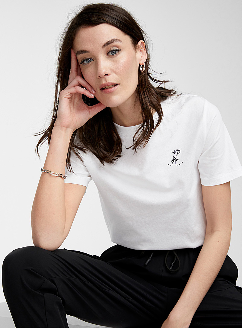 Icône White Embroidered pattern organic cotton tee for women