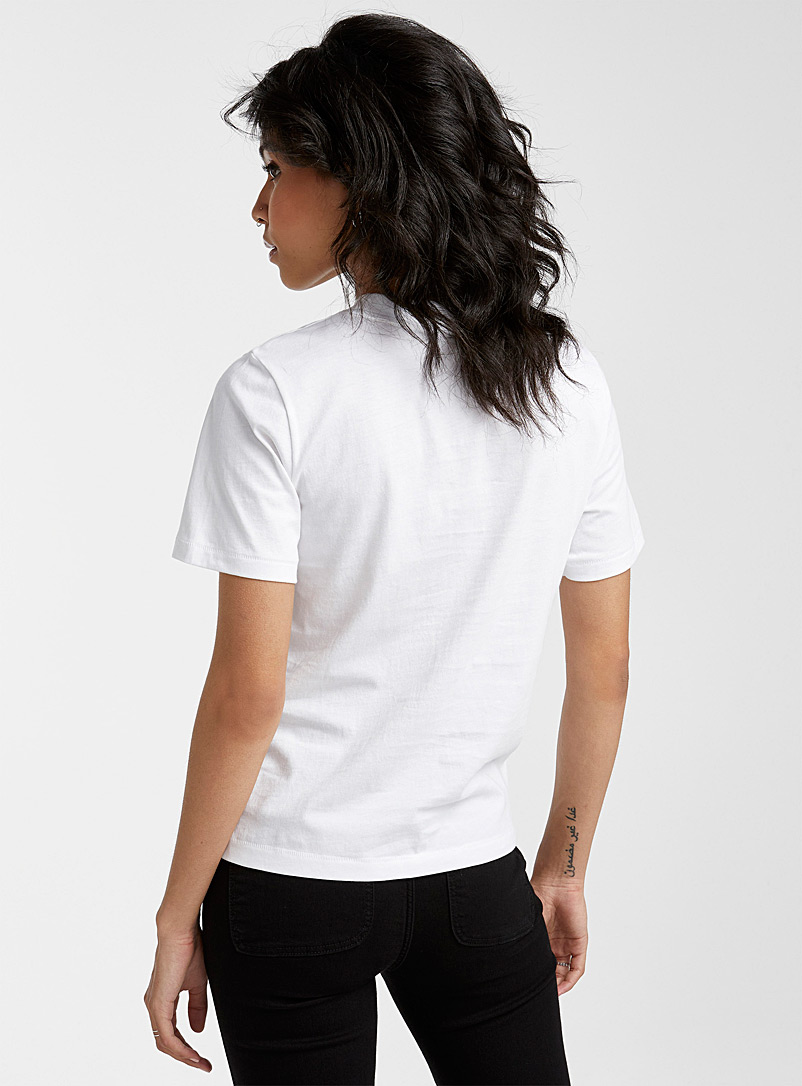 Icône Ivory White Embroidered pattern organic cotton tee for women