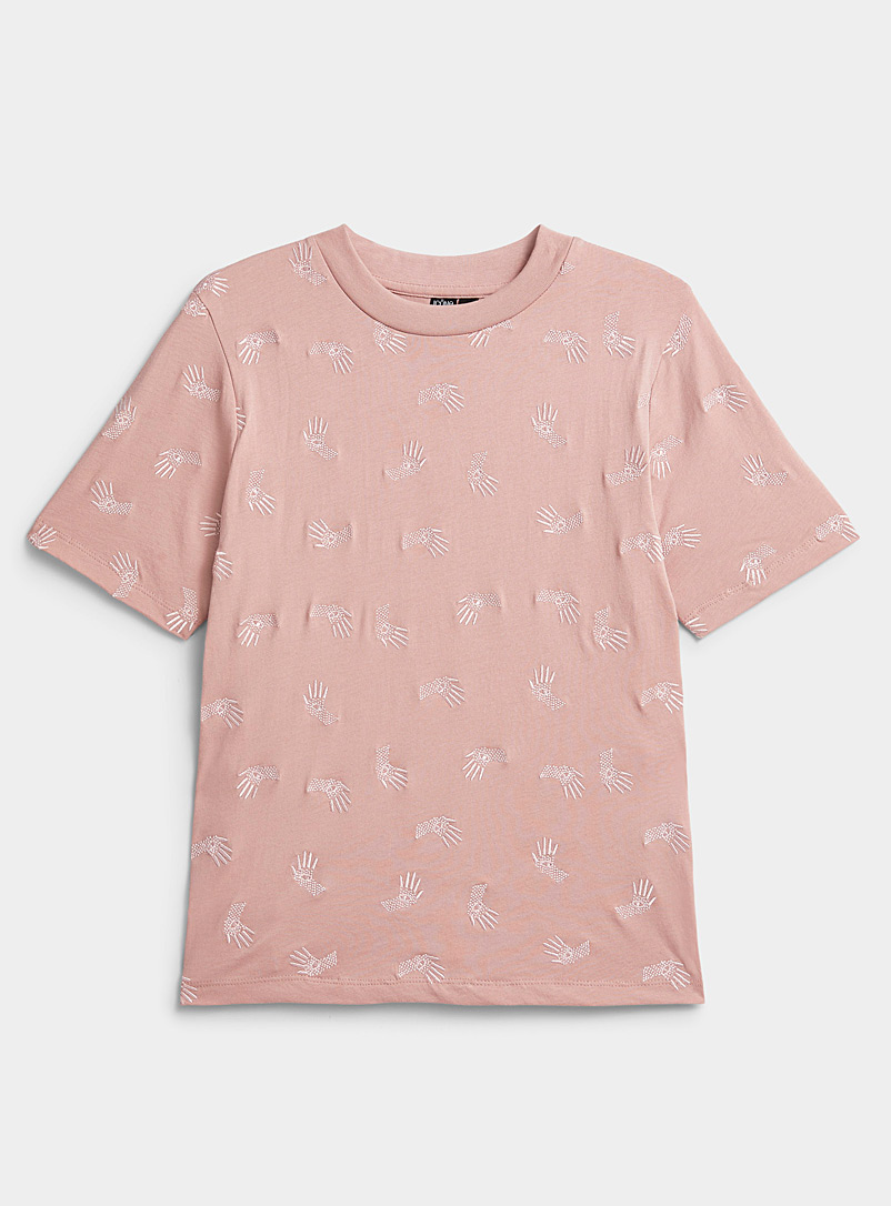 Icône Dusky Pink Embroidered pattern organic cotton tee for women