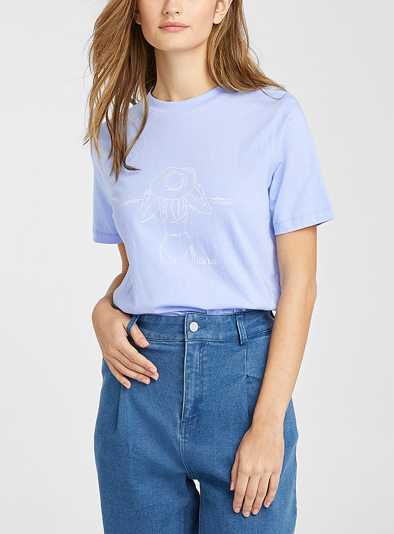 Icône Blue Illustrated pure organic cotton T-shirt for women