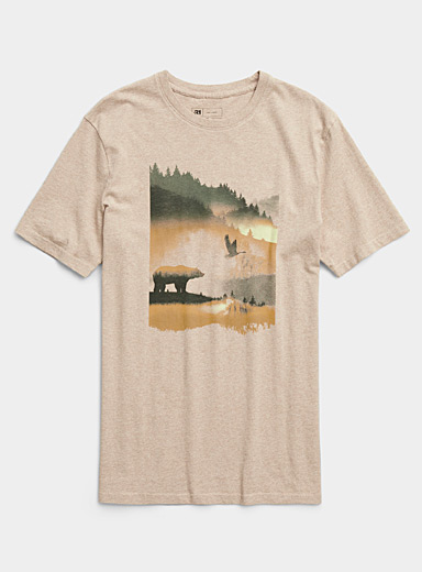 Le 31: Le t-shirt passion nature Tan beige fauve pour homme