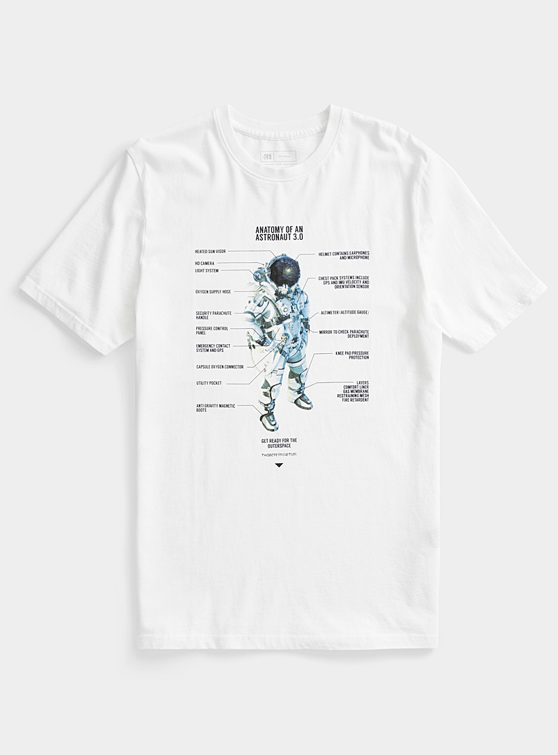 Le 31 White Organic cotton print T-shirt for men