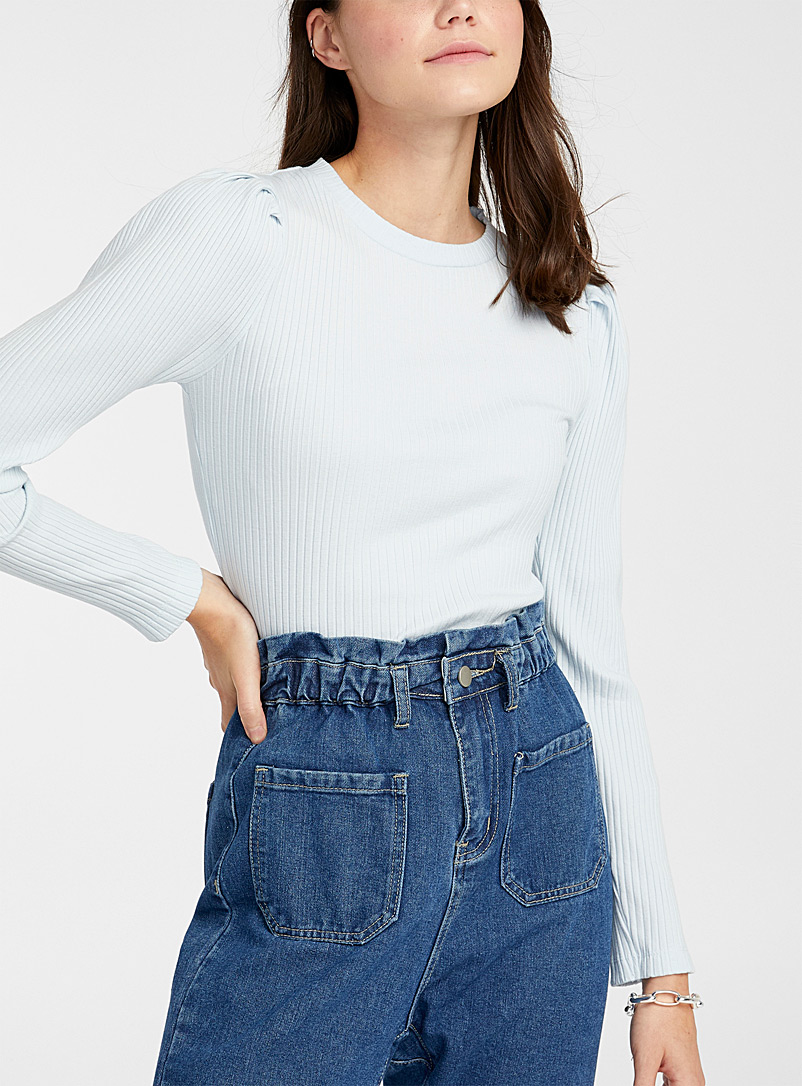 Puff-shoulder ribbed sweater