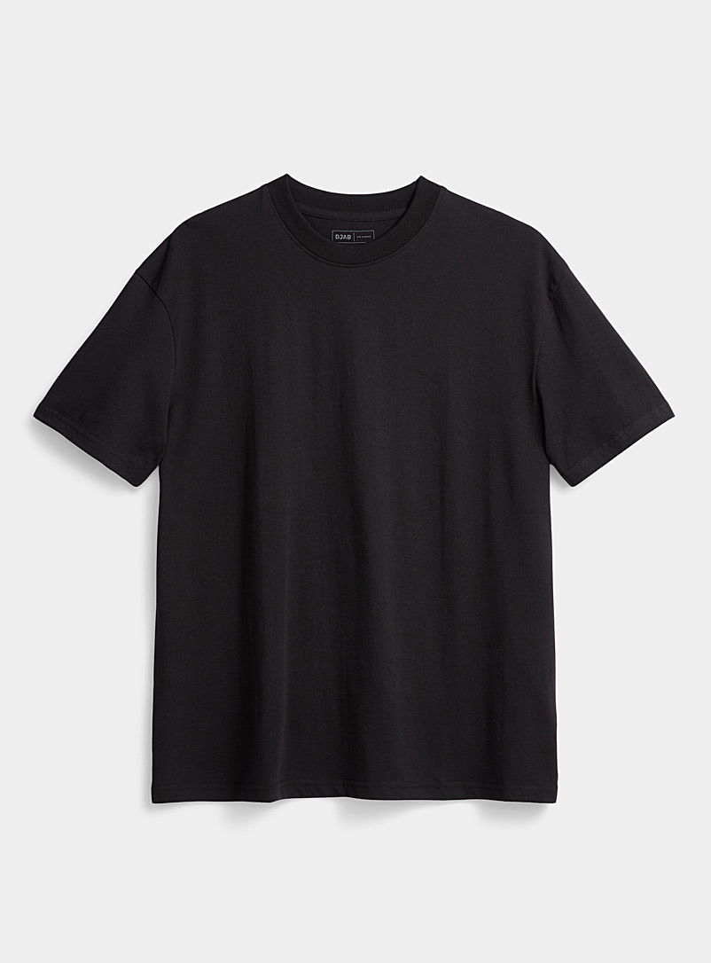 Djab Black Basic boxy T-shirt for men