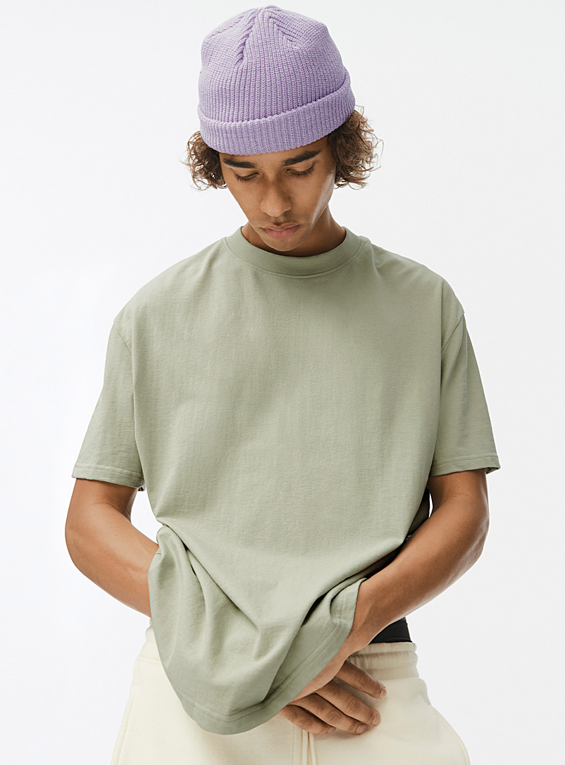 Djab Lime Green Basic boxy T-shirt for men