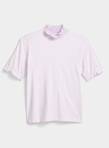 Twik Lilacs Organic cotton Victorian-neck tee for women