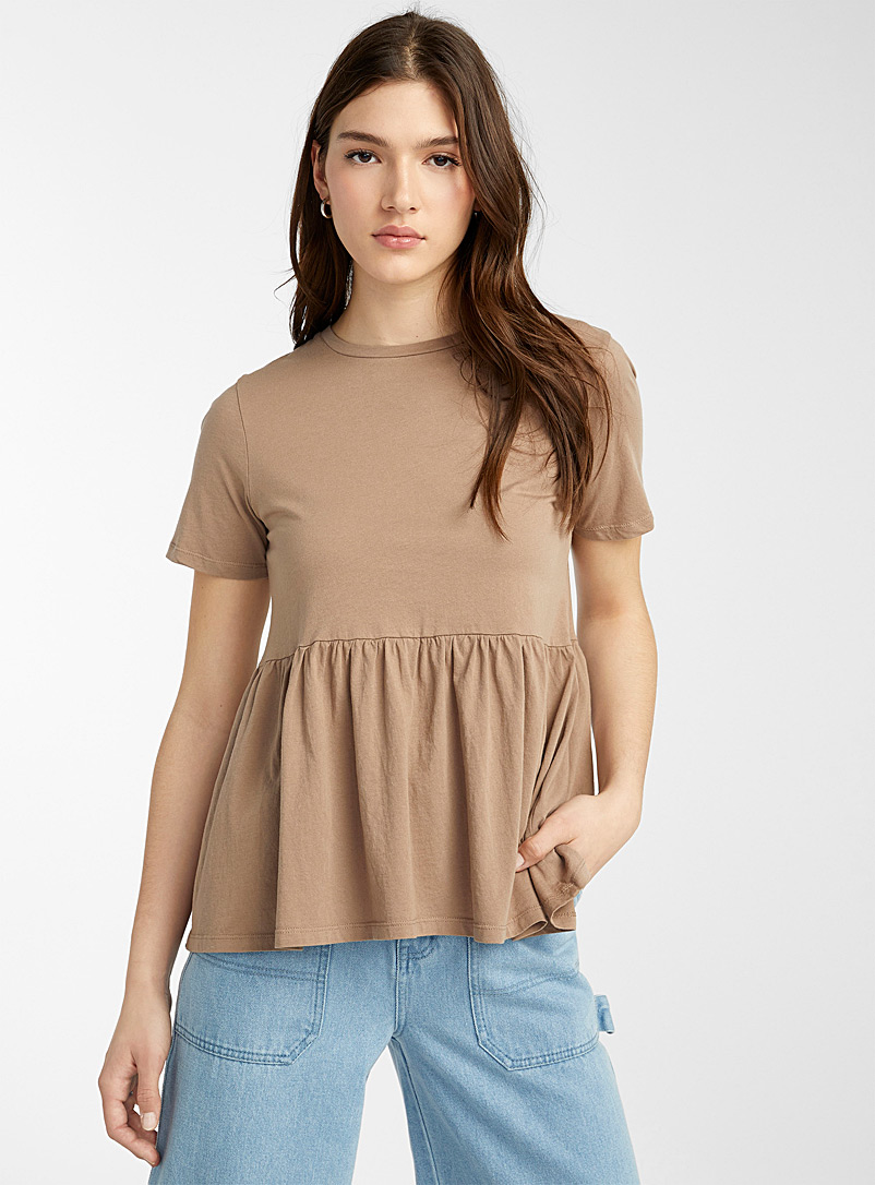 Twik Light Brown Organic cotton babydoll T-shirt for women